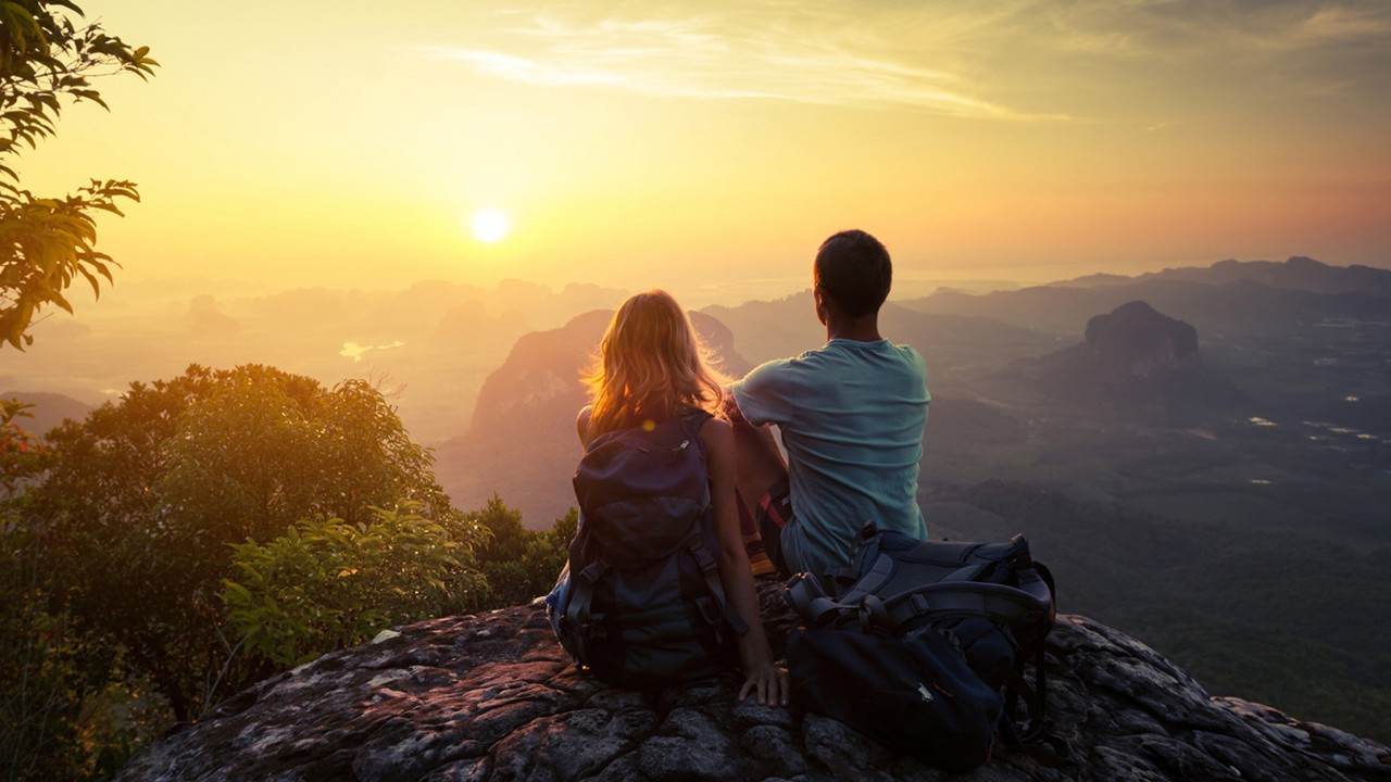 Couple on the top of mountain