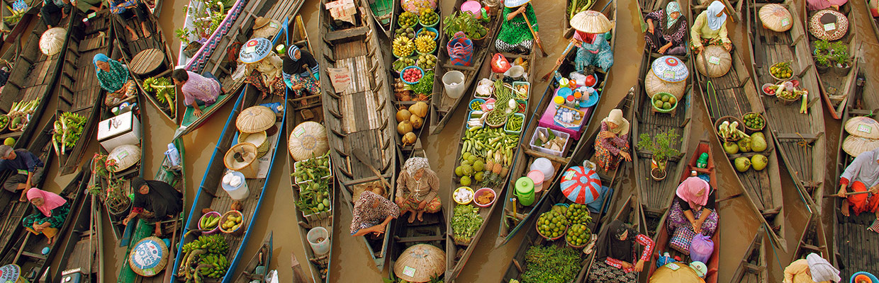 high angle view of floating-market