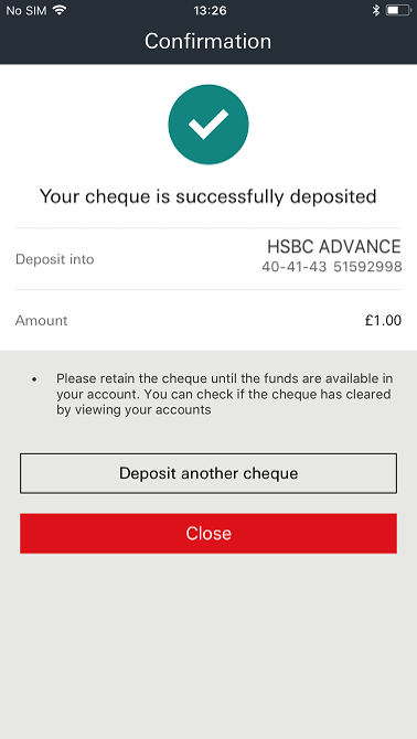 Mobile cheque deposit | Mobile Banking – HSBC UK